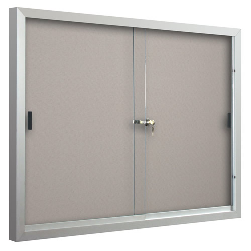 Deluxe Bulletin Board Cabinets with Sliding Doors