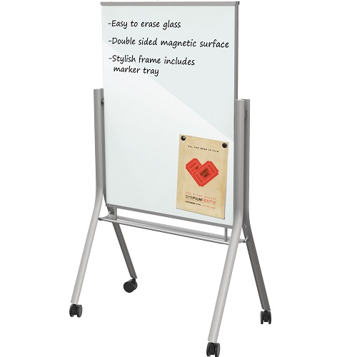 Visionary® Curve Mobile Magnetic Glass Whiteboard