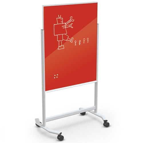Visionary® Move, Colored or White Glass, Mobile Magnetic Whiteboard