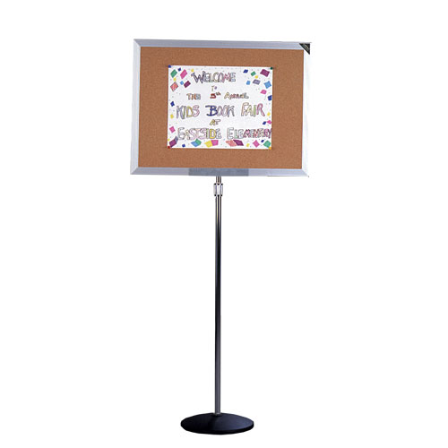 Height Adjustable Cork Bulletin Board with Single Pedestal