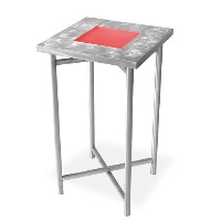 Xcube Aluminum Pedestal Table - With both plexiglass insert and LED kit