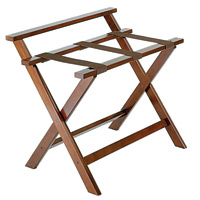 Deluxe Straight-Leg Wood Luggage Rack with High Back