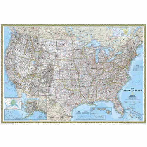 Re01020320 usa classic wall mural 76 h x 110 w for Classic world map wall mural