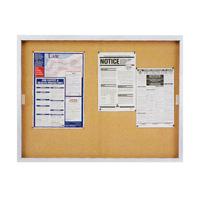 Quartet® Non-Illuminated Enclosed Cork Bulletin Boards with Sliding Doors for Indoor Use
