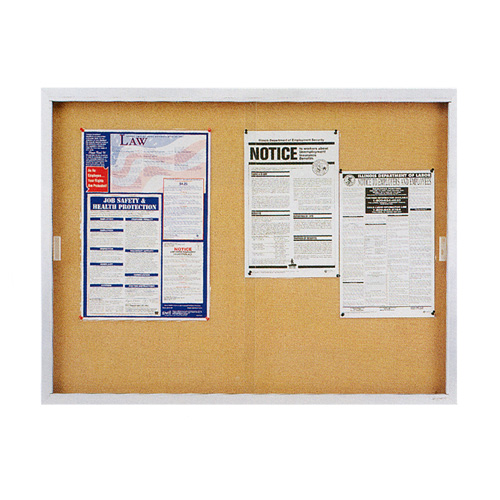 Quartet® Non-Illuminated Enclosed Cork Bulletin Boards with Sliding Doors for Indoor Use