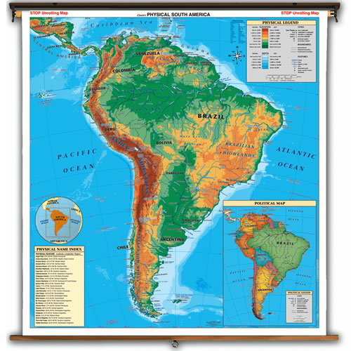 South America Physical Political Map
