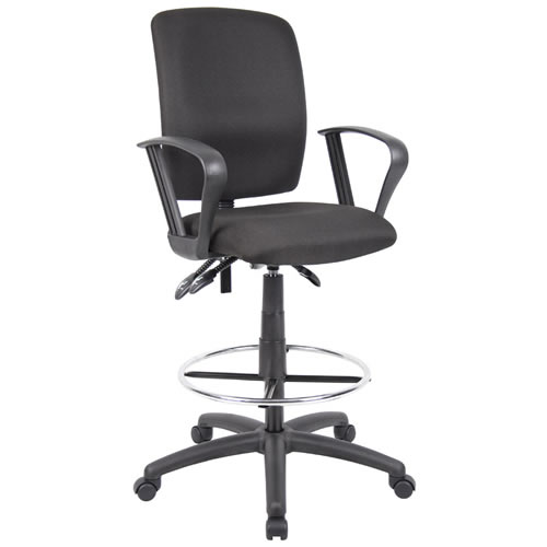 Multi-function Budget Drafting Stool in Black Crepe Fabric