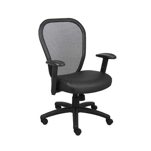 Professional Managers Mesh Chair w/Leather Seat