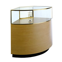 GL127 Laminate Quarter-Vision Curved Corner Jewelry Display Case