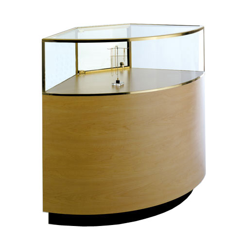 GL127 Wood Veneer Quarter-Vision Curved Corner Jewelry Display Case