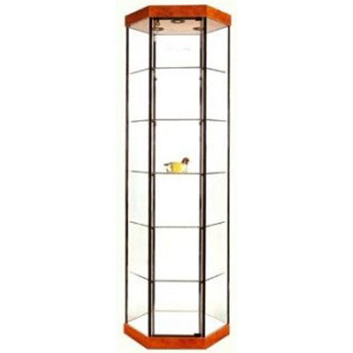 GL3 Wood Veneer Hexagonal Tower Display Case