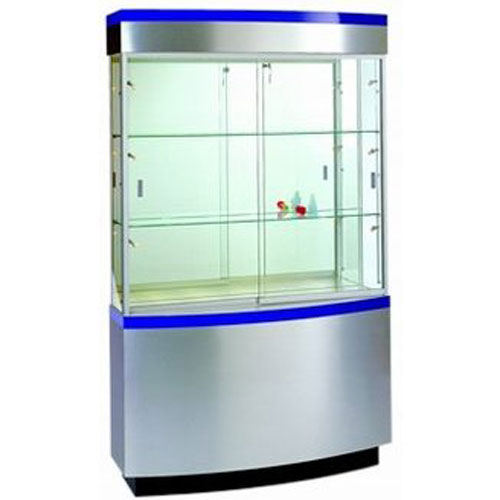 OP105 Laminate Striped Curved Wall Display Case