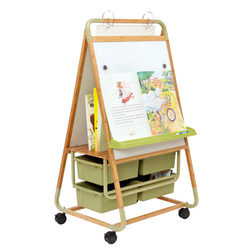 Double Sided Bamboo Teaching Easel with ECO Tubs