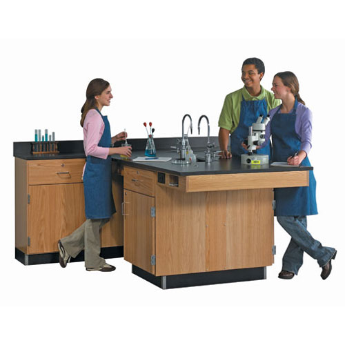 4 Student Science Lab Workstation with Side Table