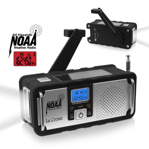 AM/FM/WB NOAA Weather Radio with Hand Crank, LED Flashlight, and USB Charging