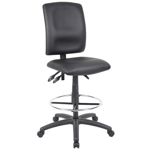 Multi-function Budget Drafting Stool in Black Leatherplus