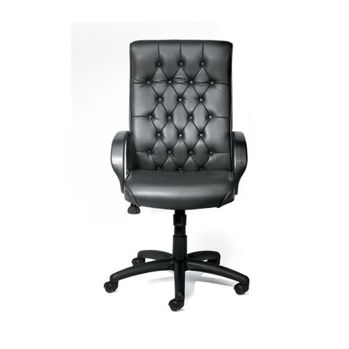 Button-Tufted Executive Chair in Black