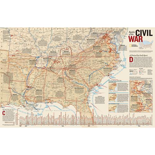 Battles of the Civil War Wall Map