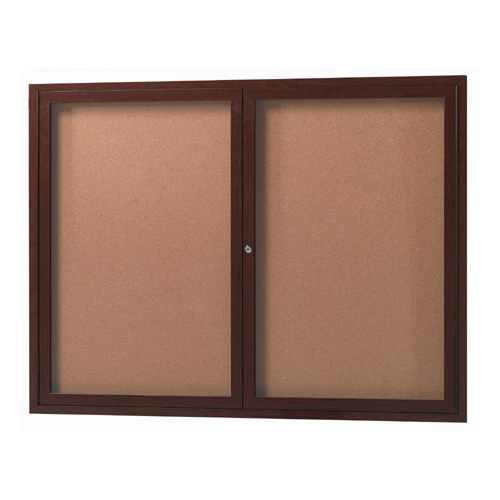 Outdoor Enclosed Aluminum Bulletin Boards with Wood-Look Finish
