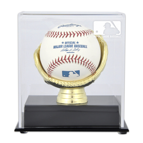 Gold Glove Single Ball Display Case with MLB Team Logo
