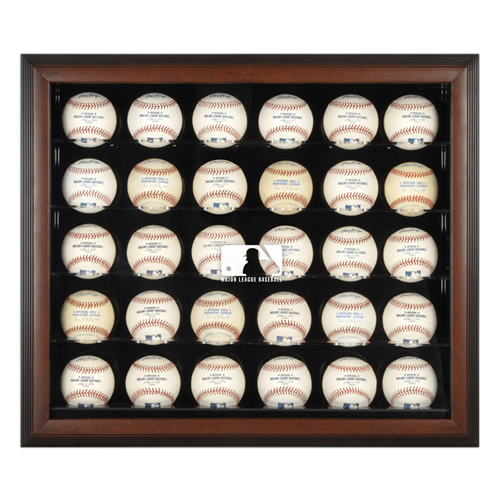 Brown Framed 30-Ball Display Case with MLB Team Logo