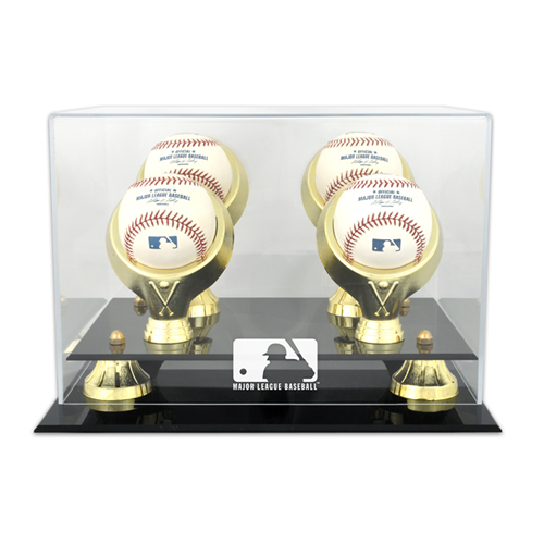 Golden Classic Four Ball Display Case with MLB Team Logo