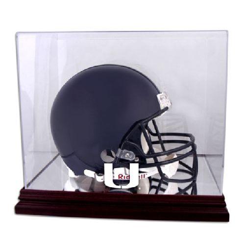 Mahogany Helmet Display Case with NCAA Logo