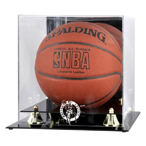 Golden Classic Basketball Display Case with NBA Team Logo