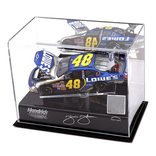 NASCAR 1/24th Die Cast Display Case w/Platform and Race Used Sheet Metal