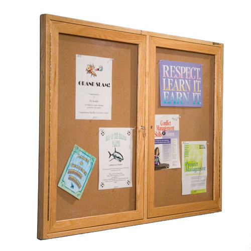 Enclosed Bulletin Board Cabinets with Wood Frame