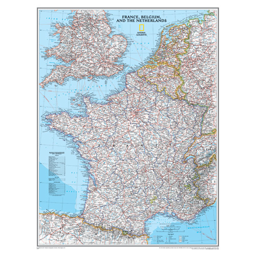 France, Belgium and the Netherlands Wall Map