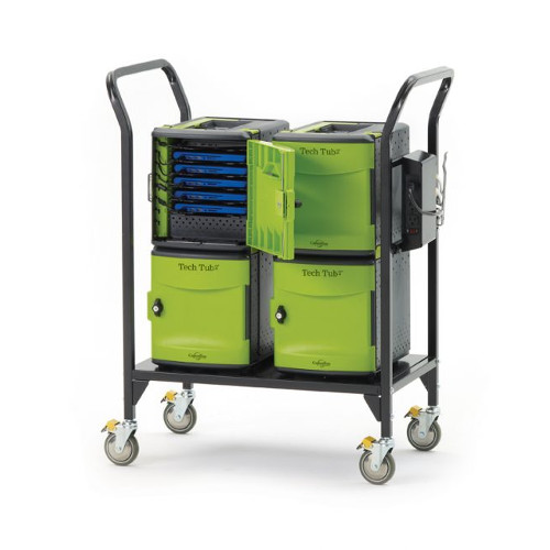 Tech Tub2 Modular Cart with syncing USB hub - holds 24 devices