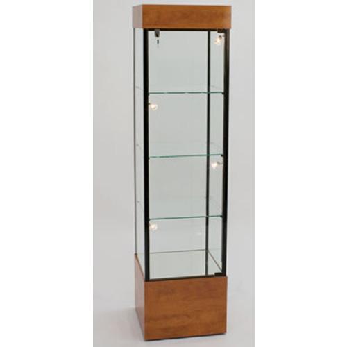 GL100 Wood Veneer Square Tower Display Case
