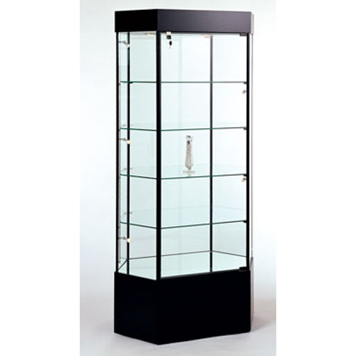 GL104 Wood Veneer Stretched Hexagonal Tower Display Case