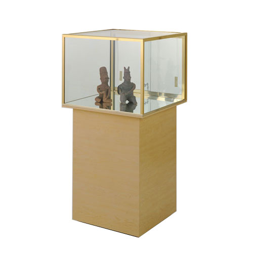 GL114 Wood Veneer Square Free Standing Jewelry Display Case