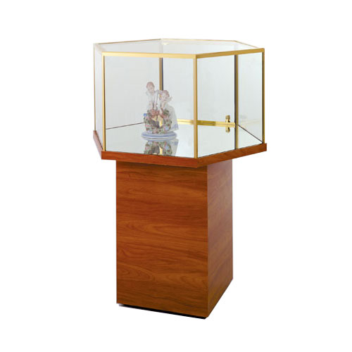 GL115 Wood Veneer Hexagonal Free Standing Jewelry Display Case