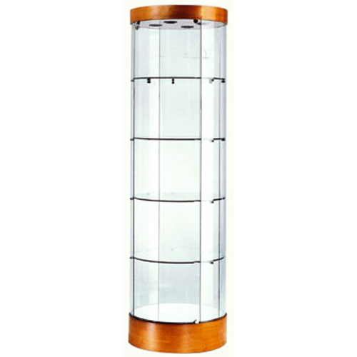 GL121 Wood Veneer Round Tower Display Case