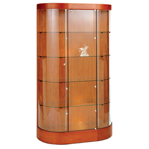 GL123 Wood Veneer Curved Wall Display Case