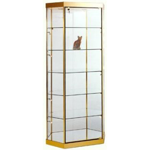 GL4 Wood Veneer Stretched Hexagonal Tower Display Case
