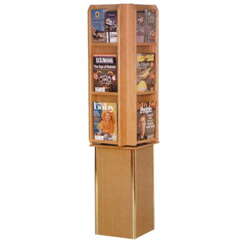 Free Standing Rotating Oak Literature Display