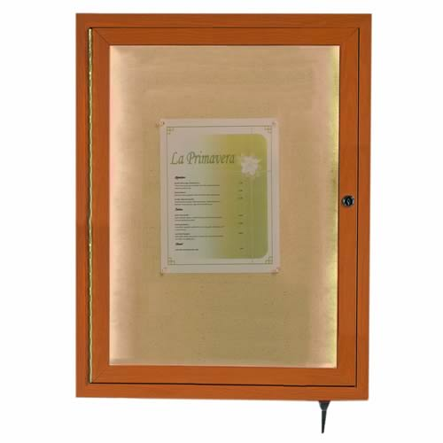 Enclosed Indoor/Outdoor Wood-Look Display Cases with LED Lighting