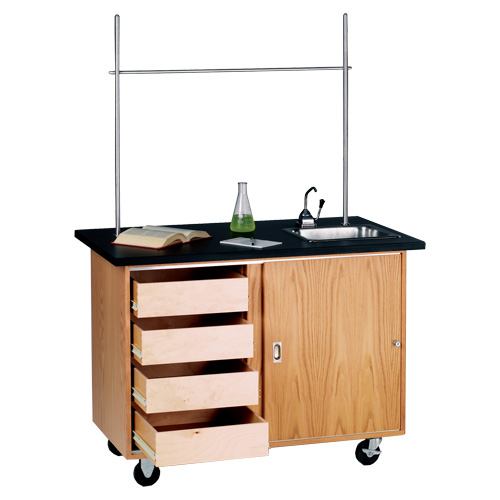 Mobile Lab Demo Table with Concealed Drawers