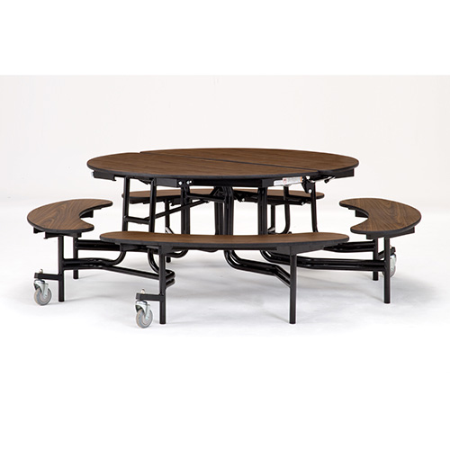 Fixed Bench Round Mobile Cafeteria Table