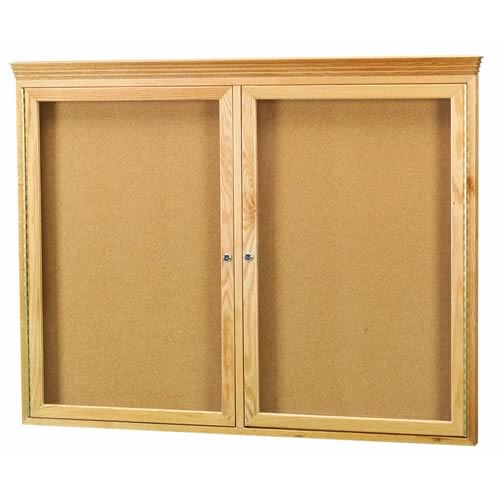 Enclosed Red Oak Wood Frame Bulletin Boards with Crown Moulding | US ...