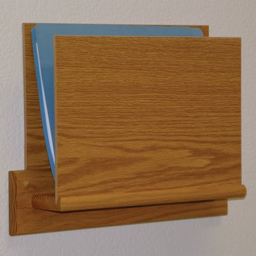 Open End Oak File Rack - Square Mounting Plate