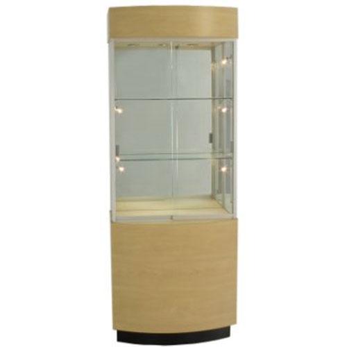 OP105 Wood Veneer Curved Wall Display Case