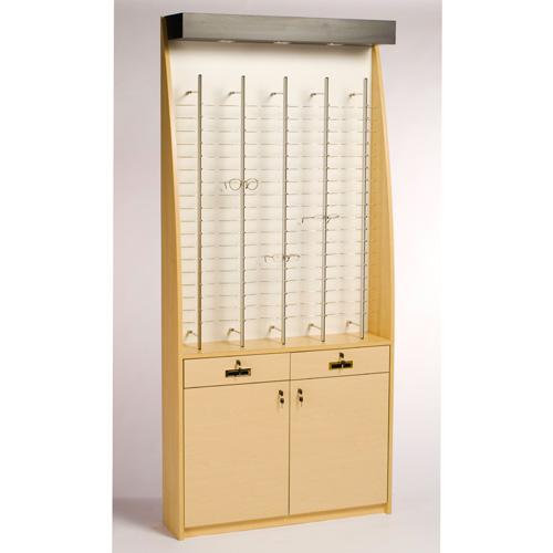 OP110 Wood Veneer Rectangular Optical Wall Display Case