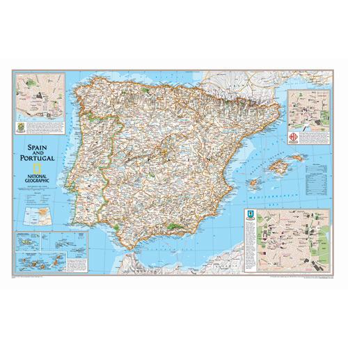 Spain/Portugal Wall Maps