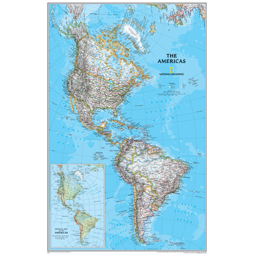 The Americas Wall Map