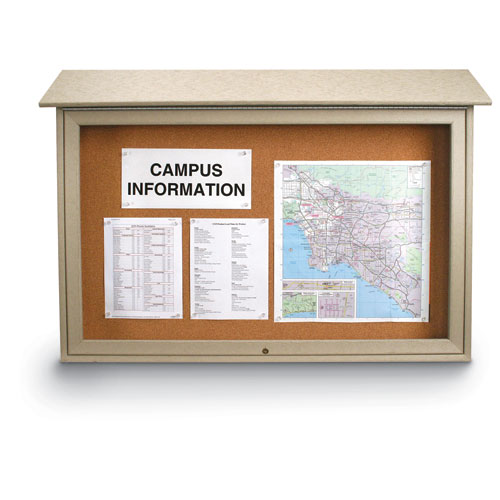 Top-Hinged Single Door Corkboard Message Centers with Optional Posts